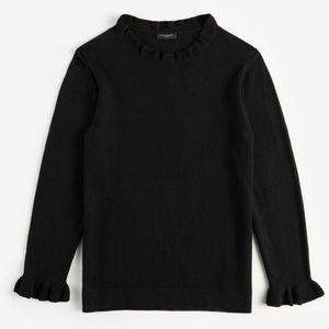 ANN TAYLOR FACTORY | Ruffle Neck Sweater/Black/S